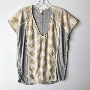 Tiny Anthropologie Embroidered Top Cinch Back #652